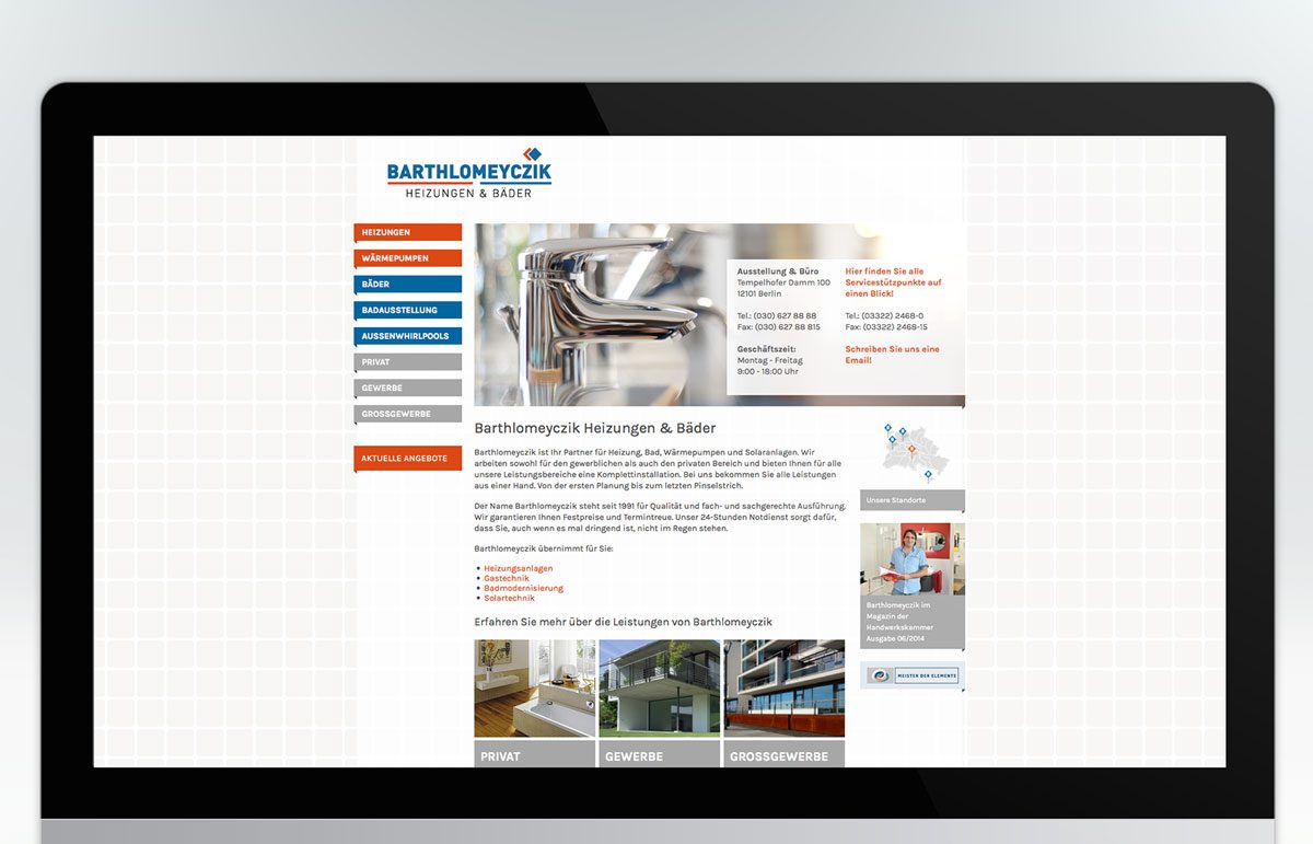 Website für Barthlomeyczik Heizung & Bäder GmbH