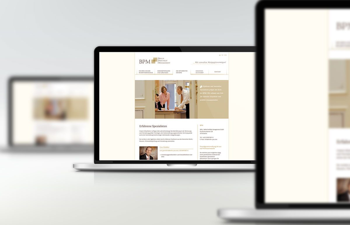 Website für BPM - Berlin Portfolio Management GmbH