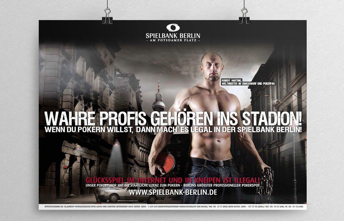 Plakat Kampagne für die Spielbank Berlin mit Robert Harting