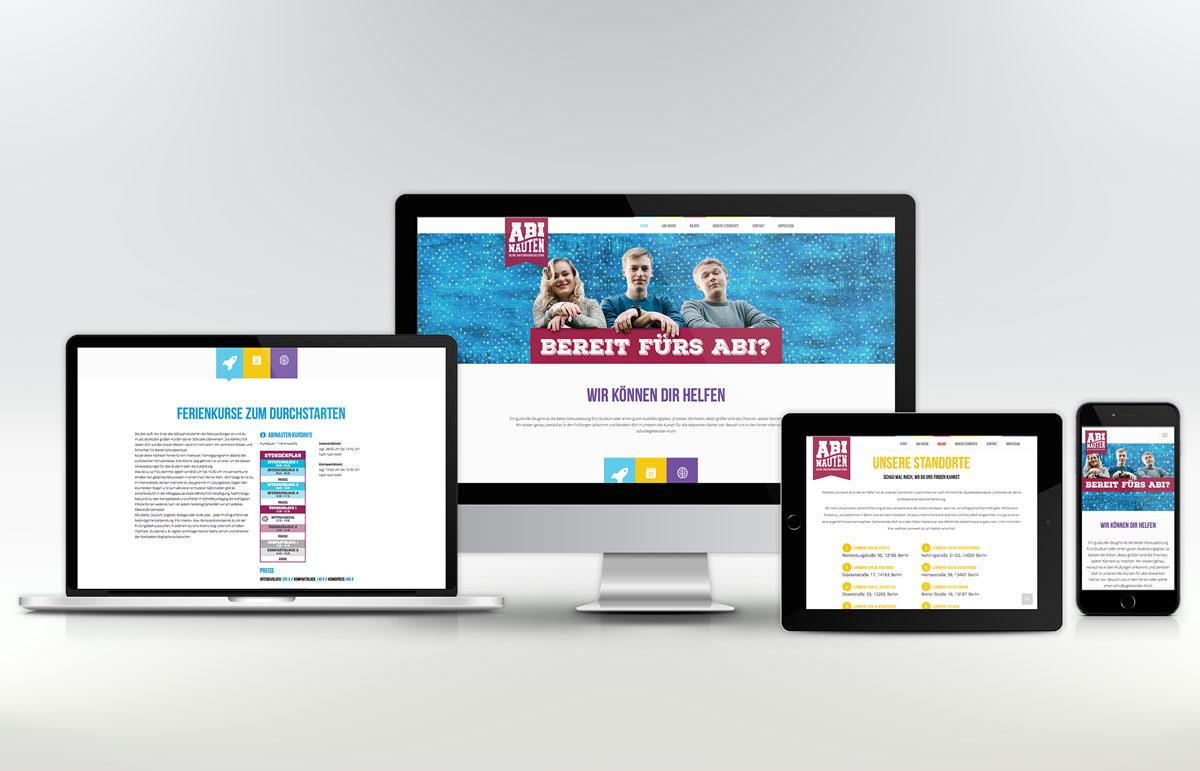 Webseite für Abinauten, PPAM Werbeagentur Berlin Lichterfelde