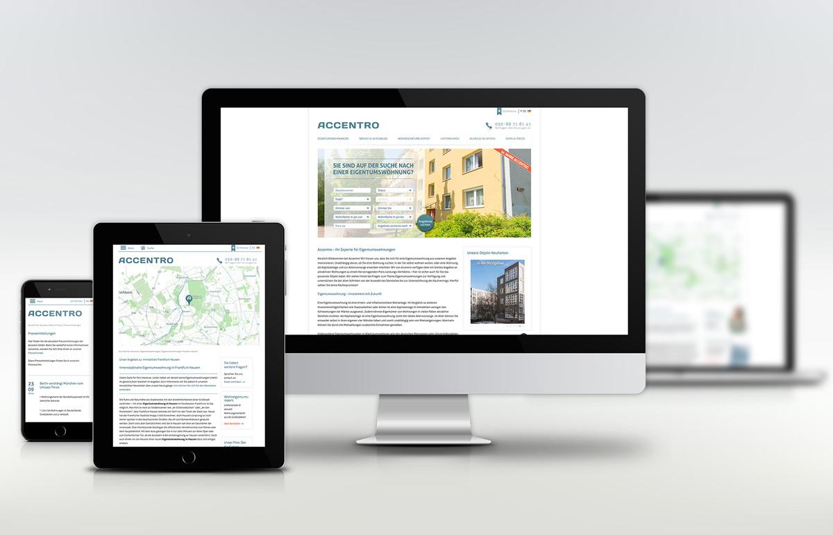Webseite für Accentro. PPAM Werbeagentur Berlin Lichterfelde