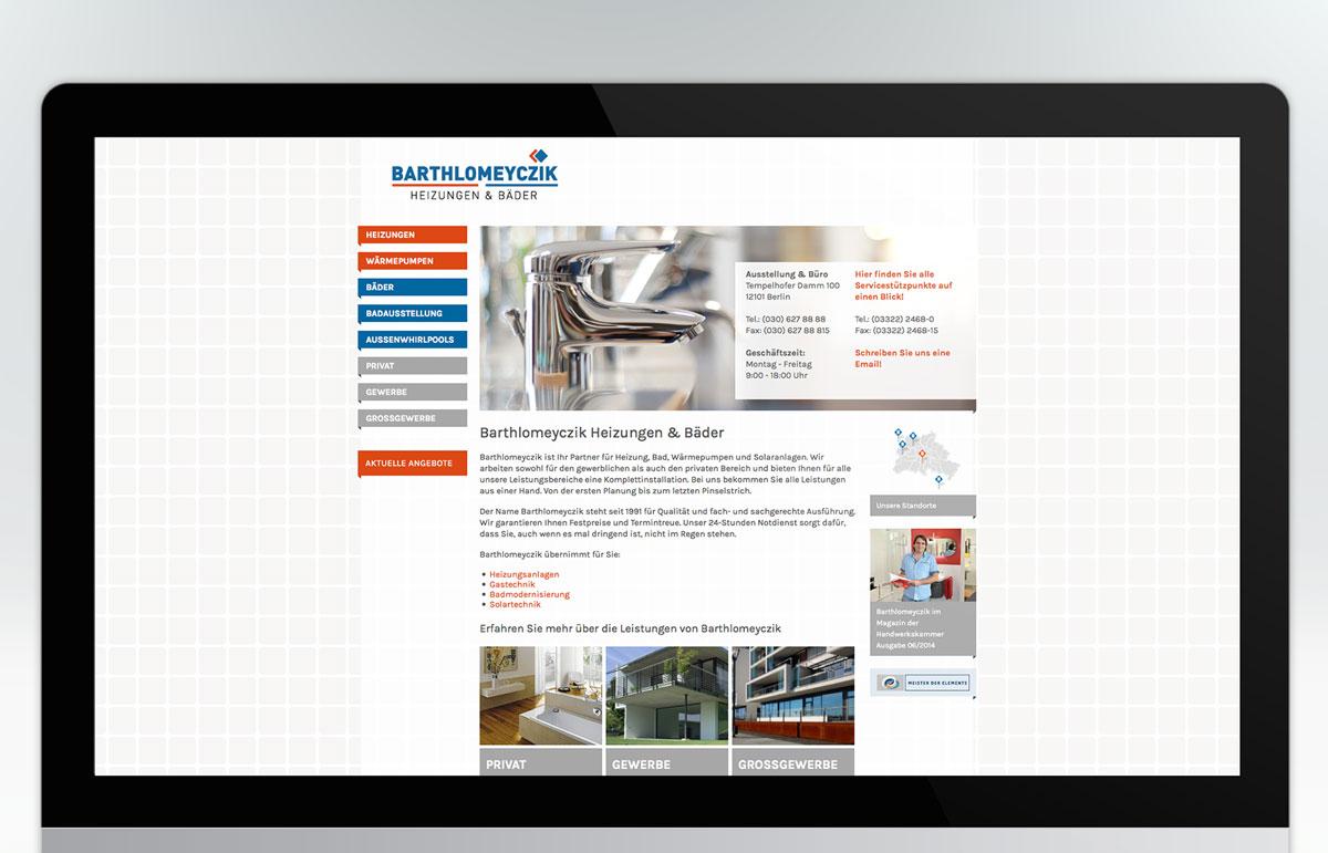 Webseite für Barthlomeyczik Heizungen und Bäder, PPAM Werbeagentur Berlin Lichterfelde