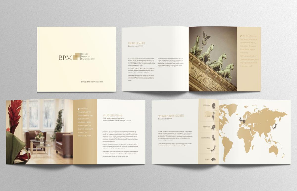Broschüre für BPM - Berlin Portfolio Management, PPAM Werbeagentur Berlin Lichterfelde