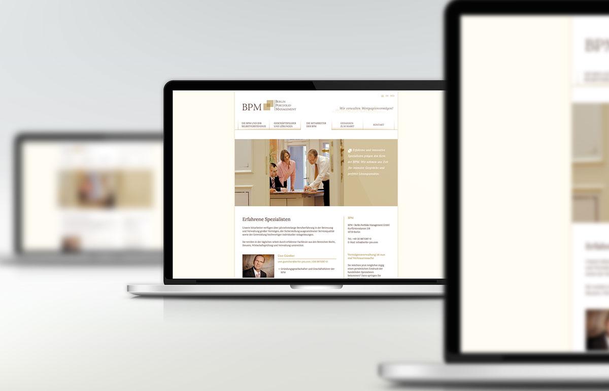 Webseite für BPM - Berlin Portfolio Management, PPAM Werbeagentur Berlin Lichterfelde