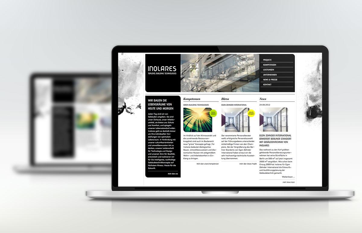 Webseite für Inolares, PPAM Werbeagentur Berlin Lichterfelde
