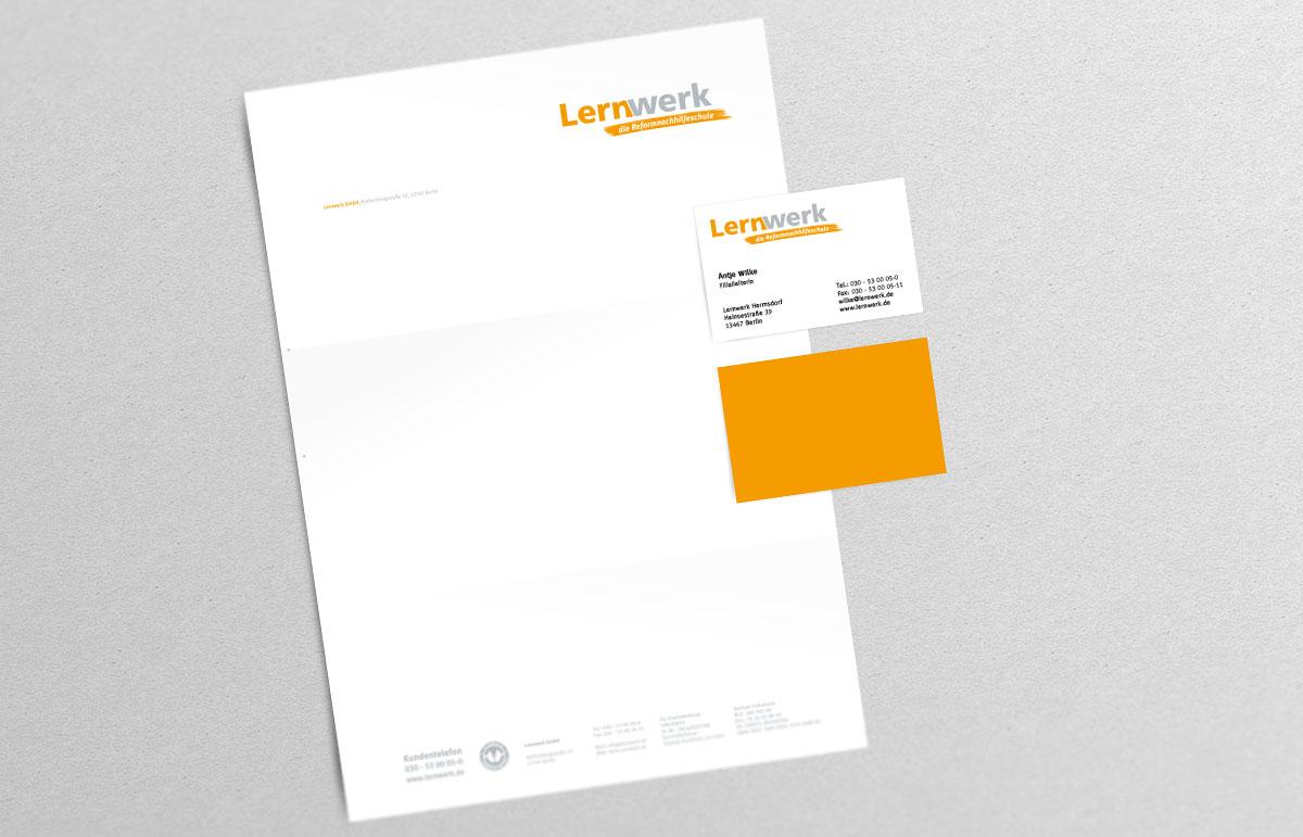 Lernwerk Printprodukte, Geschäftsausstattung, Briefbogen, Visitenkarten