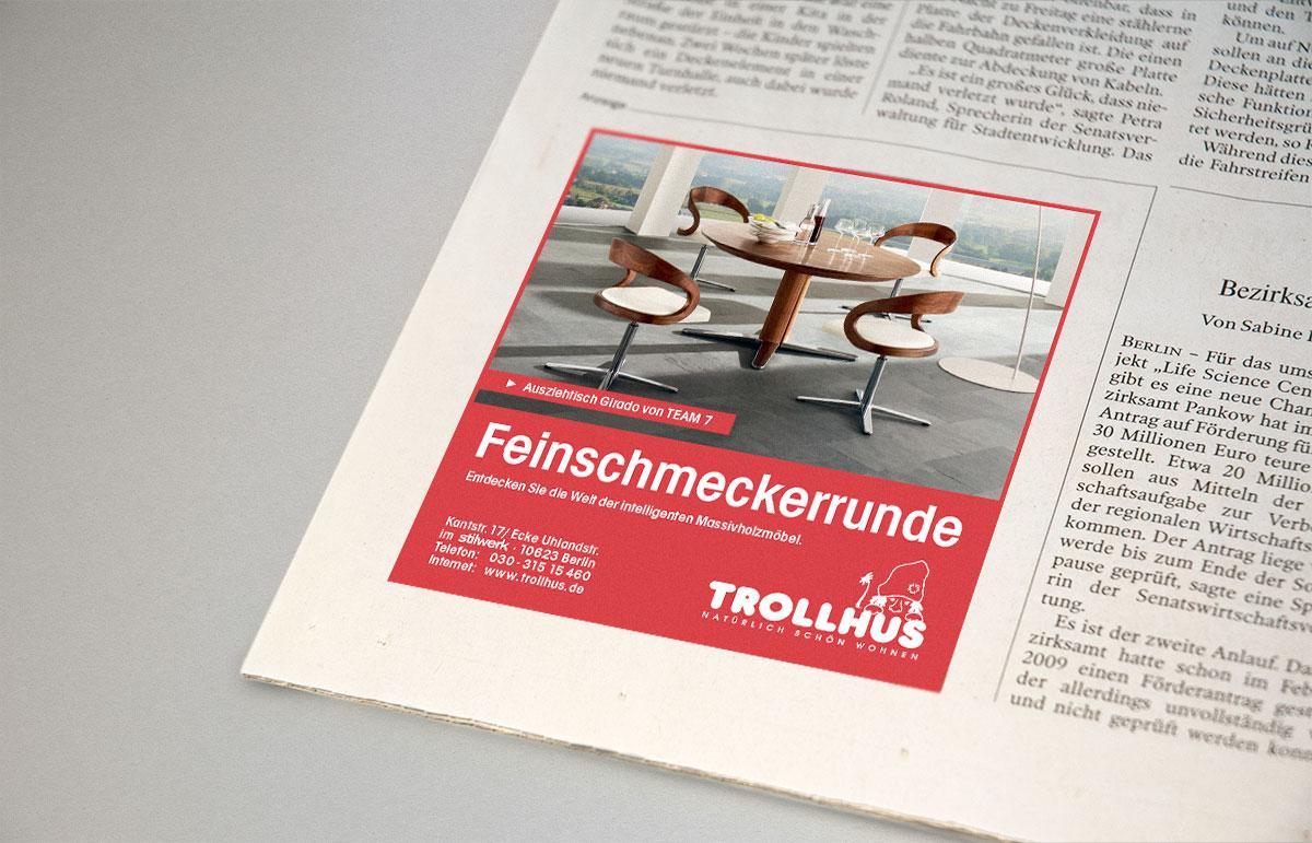Anzeige für Trollhus, PPAM Werbeagentur Berlin Lichterfelde